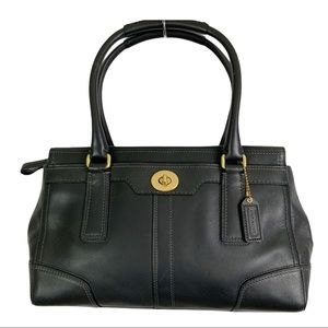 COACH Turnlock Satchel Bag Black Leather